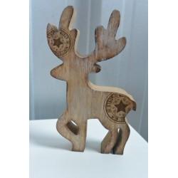 Cerf en bois naturel S